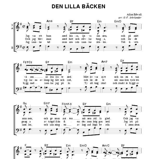 Nessun Dorma Lyrics Sheet Music: Den Lilla Bäcken (SAB)