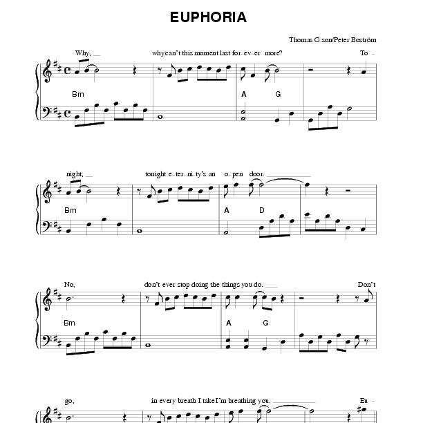 Euphoria (piano) | NotPoolen com