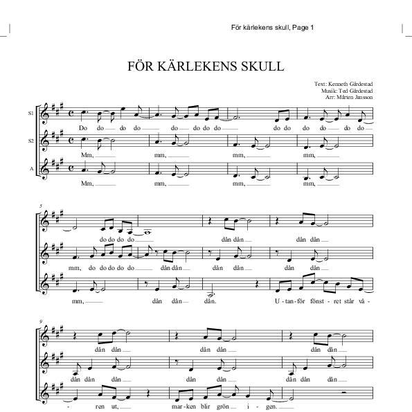 för kärlekens skull noter piano gratis