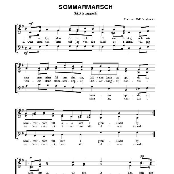 Nessun Dorma Lyrics Sheet Music: Sommarmarsch (SAB)
